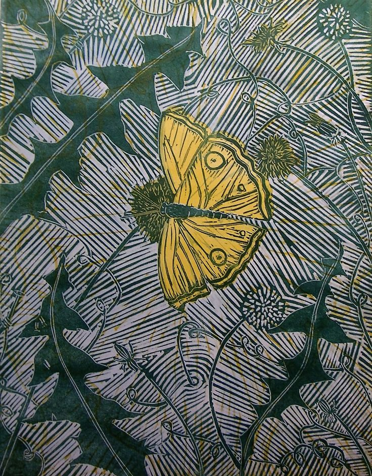 This is a three block lino print measuring 30 x 40 cm of a butterfly on dandelion