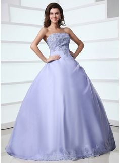 A-Line/Princess Strapless Floor-Length Organza Satin Quinceanera Dresses With Lace Beading (021017384)