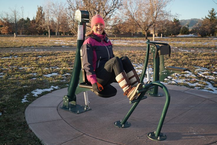 Enjoying the (cold) fresh air at a fitness zone in Colorado