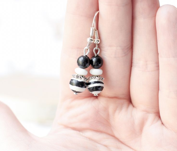 Black and White Earrings, Black Stone Earrings, White Glass Earrings, Zebra Stripe Earrings, Gifts for Her, Gifts Under 20, Neutral Earrings by A2CJewels on Etsy