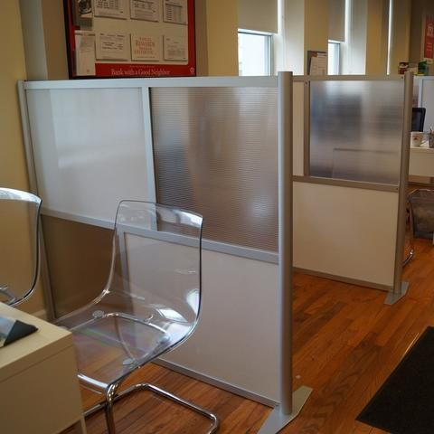 "60"" wide x 51"" high Office Partition, Translucent White & Frosted Hammered Freeze Panels, Model SW6051-2 - iDivide Modern Room Dividers & Office Partitions"