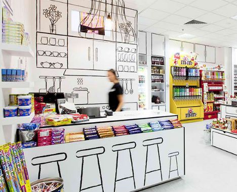 RED Design Group gets sketchy with a black-and-white store for Candy Room in Melbourne, Australia.