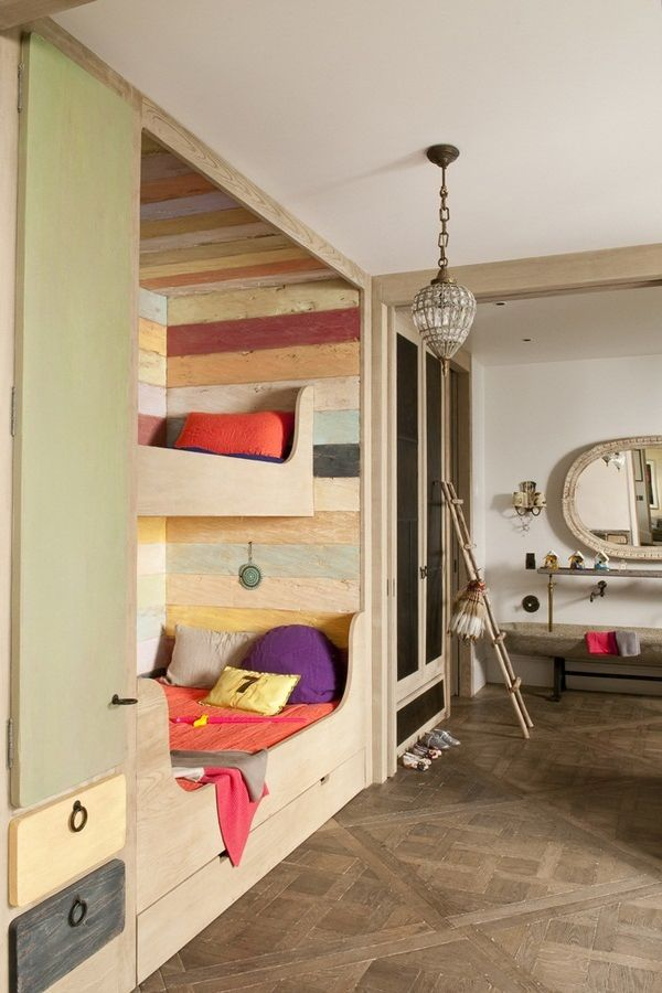 Colorful built in bunkbeds made with reclaimed wood
