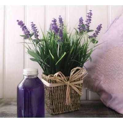 sea grass floral arrangements | ... Lavender in Seagrass Basket Artificial Flower / Plant Arrangement