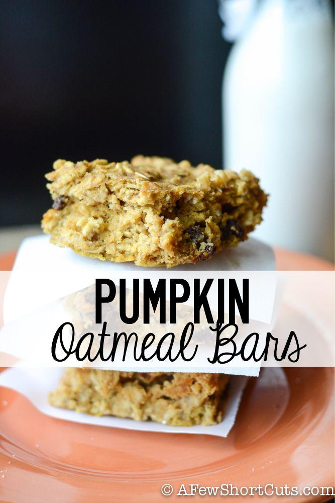 Delicious fall breakfast or snack. Pumpkin Oatmeal Bars #recipe