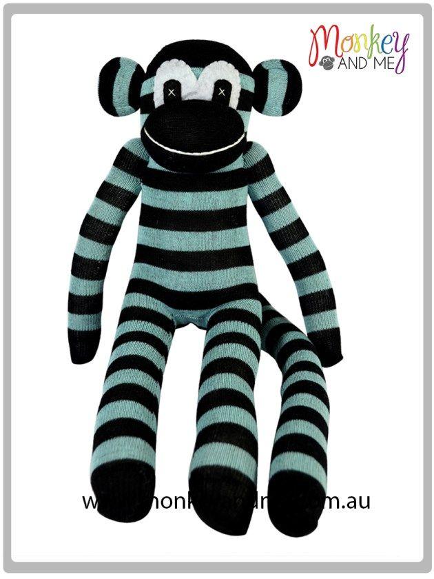 Black and Blue Sock Monkey  Adopt over at monkeyandme.com.au #sockmonkeys #gifts #toys