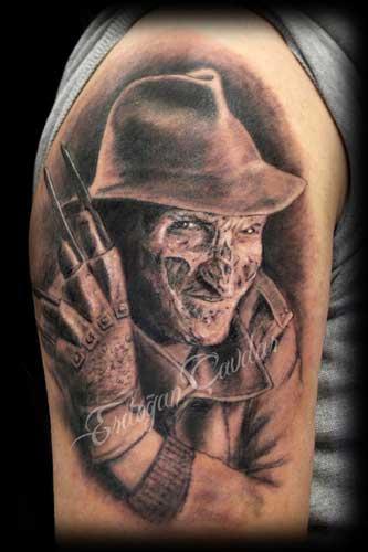 Freddy Krueger portrait tattoo - portre dövme