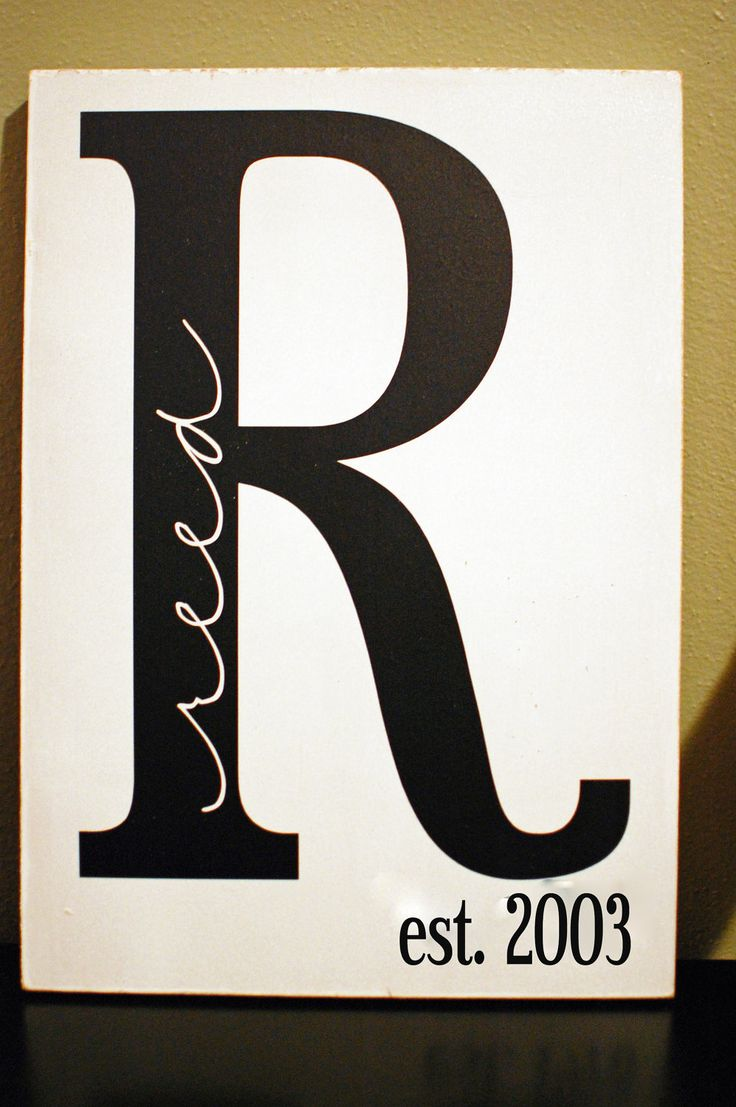 monogram family name and initial with established date (wedding date) painted on wooden board or canvas.