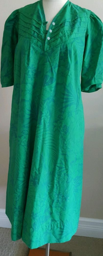 Hawaiian MuuMuu Green Tropical Dress Small T&L MuuMuu Factory Mid Length #Hawaiian #Hawaiian #Casual