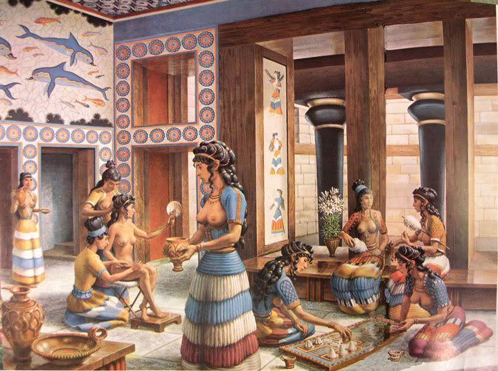 A civilização cretense tem sido muito importante no campo da moda. Ele estava dirigindo o corpete e saia de babados . Devido à existência e desenvolvimento dos fluxos de comércio , câmbio e técnicas adquiridas através da expansão da Grécia , poderíamos extrair elementos que fazem parte do vestido de Creta. Os afrescos do Palácio de Knossos e vestígios arqueológicos indicam que adoravam a Grande Deusa Mãe e revelam uma forte influência de Mesop .