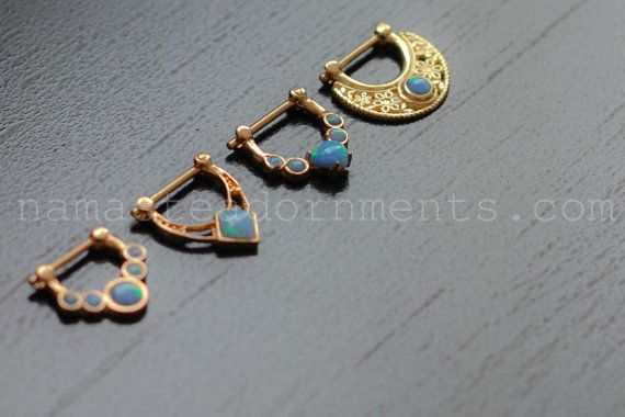 16g 14k Gold Septum Clickers with Blue Opals on Etsy, $190.00