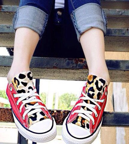 Best shop ever for converse revamped!! Wonderful designs!  Red Leopard Print Converse Shoes