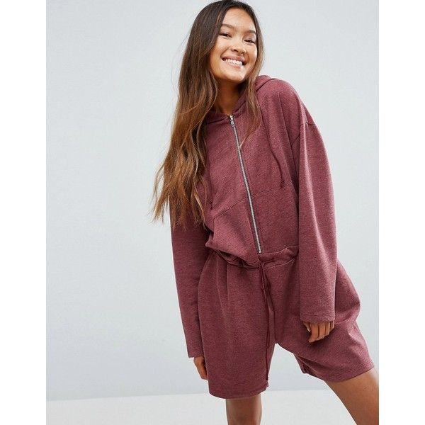 ASOS Oversized Sweat Playsuit ($45) ❤ liked on Polyvore featuring jumpsuits, rompers, red, asos romper, party rompers, tall romper, going out rompers and asos
