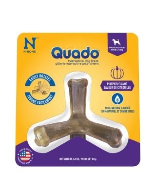 DOG TREATS - ALL OTHER - QUADO DOG CHEW PUMPKIN MEDIUM - USA - 2.08 OZ - NATURAL POLYMER - UPC: 657546115028 - DEPT: DOG PRODUCTS