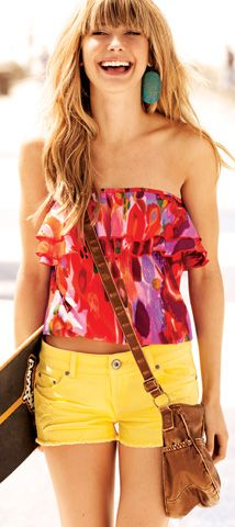 cute summer outfitYellow Shorts, Summer Day, Summer Outfit, Summer Style, Tube Tops, Wetsealsumm Contest, Bright Colors, Wet Seals, Hot Summer