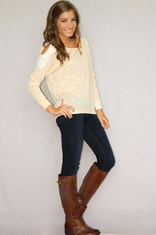 Crochet Dreams Sweater (Cream) | Girly Girl Boutique