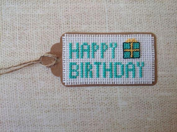 Happy Birthday gift tag from http://sewrudecrossstitch.etsy.com/
