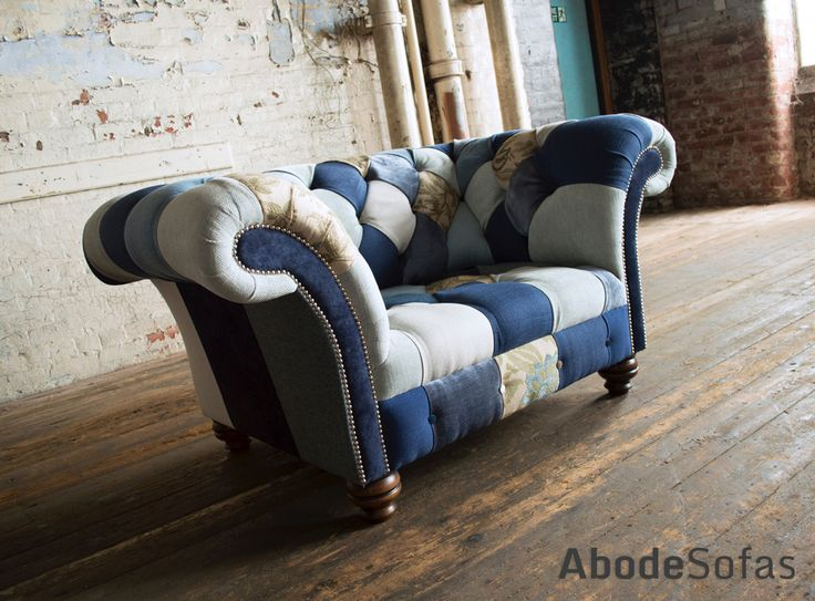 Modern British Handmade Bold Bright Hues of Blue and Floral Patterned #Patchwork Chesterfield Snuggle #Chair. Totally unique in a range of colourful fabric.| Abode Sofas