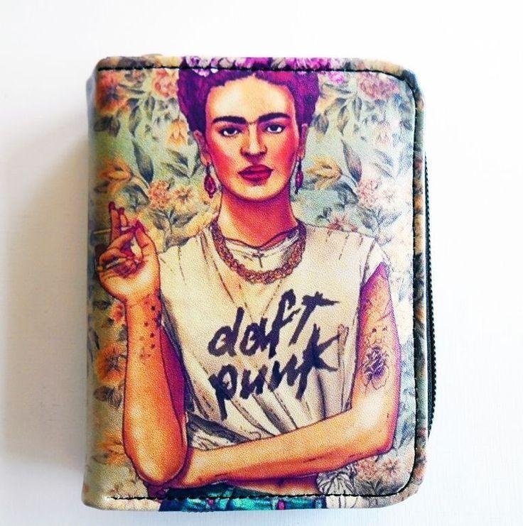 Frida Kahlo Daft Punk Wallet Zippered Pouch, Pleather Vegan Wallet Birthday Gift #Unbranded #Envelope
