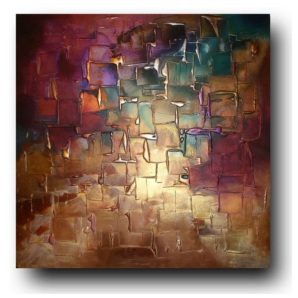 Original Abstract Art by Caroline Ashwood - Textured Gold and Purple... ($420) ❤ liked on Polyvore