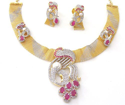 Indian Ad CZ Bollywood Gold & Silver (Two Tone) Necklace Set Ethnic Swam Jewelry (S-101) Swam Creations http://www.amazon.com/dp/B01CNXMRBQ/ref=cm_sw_r_pi_dp_ppz3wb1Y598J1