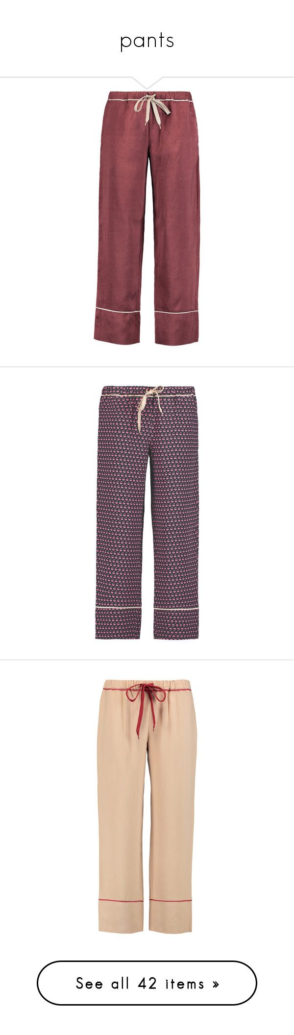 """""""pants"""" by nanette-253 ❤ liked on Polyvore featuring pants, burgundy, red silk pants, drawstring waist pants, lightweight pants, straight leg pants, straight leg trousers, dark green, pull on pants and high rise pants"""
