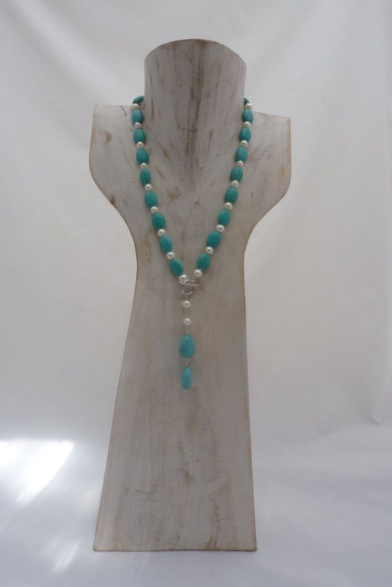 Turquoise Necklace with Freshwater Pearls Toggle clasp and drop pendant  by UPMARKETJEWELS