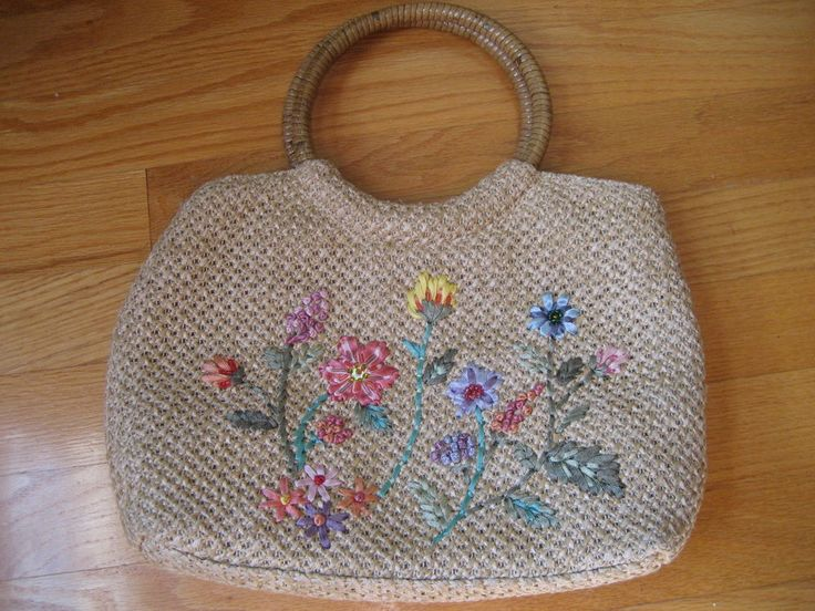 Embroidered Purse Ribbon Flower Vinyl Trim Handle Strap Zipper Wooden Vtg (?)
