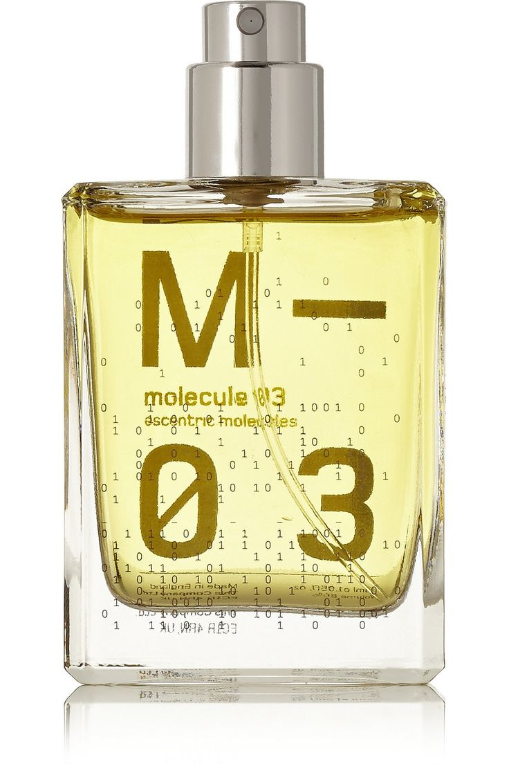 Escentric Molecules | Molecule 03 - Vetiveryl Acetate Berlin-based Geza Schoen's Escentric Molecules label celebrates perfumery as the art of chemistry. 'Molecule 03' is Scented with single note aroma chemical Vetiveryl Acetate that is less bitter and smoky than the natural Vetiver root. The result is a fresh, woody and slightly grassy smell that will gradually develop into a personalized perfume that's individual to each wearer.