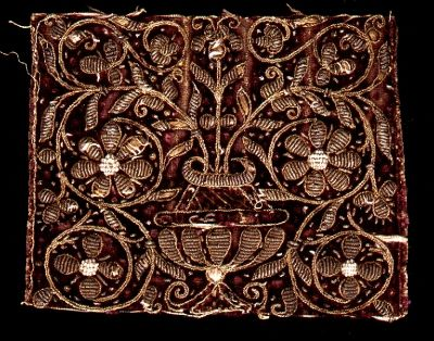 16th century embroidery from Italy or Germany in velvet. Embroidered in gold…