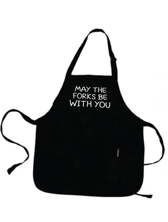 Funny Apron MAY The FORKS Be With YOU Half Apron Grill by gulftees. #Contest
