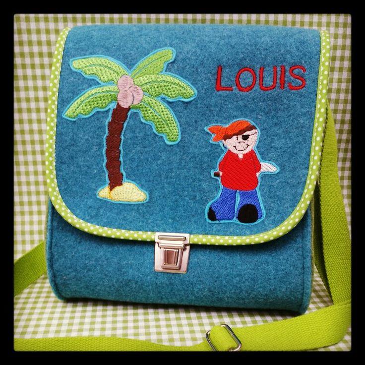 Kindergartentasche aus Wollfilz und Namensstickerei www.facebook.com/KINDundKrone