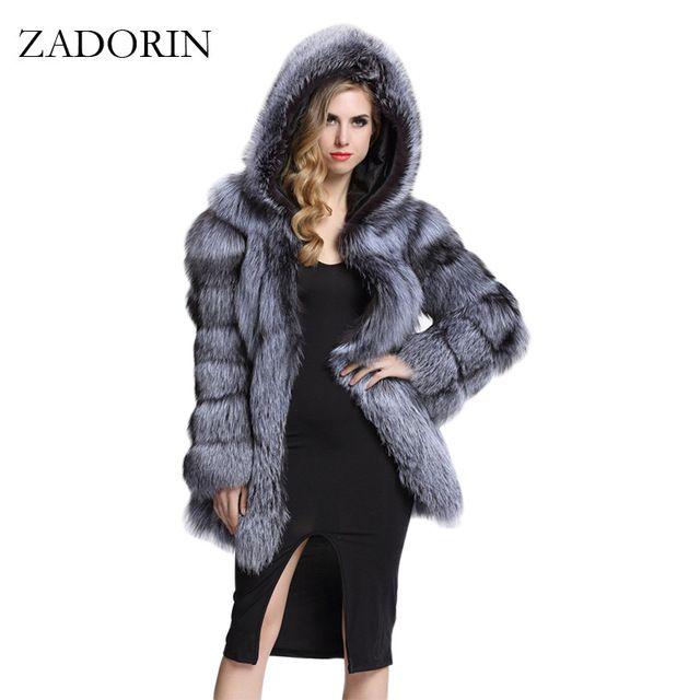 Hot Discount $63.64, Buy ZADORIN Elegant Long Faux Fur Coat fluffy Jacket 2017 Winter Women Thick Warm Faux Fur Coats With Hooded White Black Plus Size