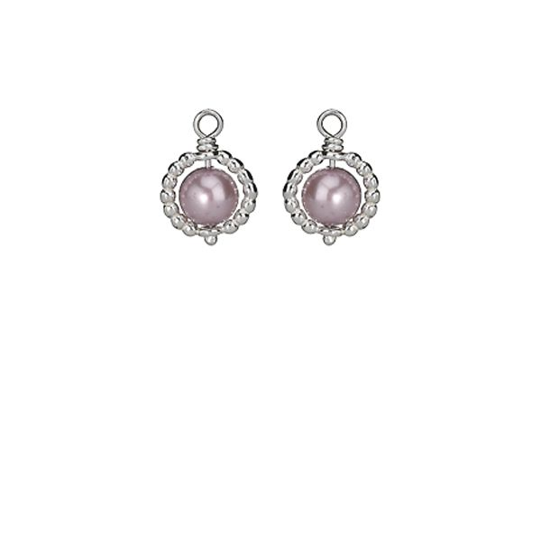 9a9a7c833 ... Pandora Small Beaded Hoop Earring Charm with Lavender pearl in Sterling  Silver 30 ...