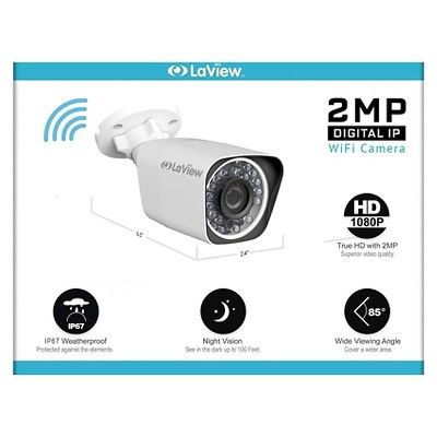 LaView 1080P Wifi Wireless Security Camera System 2TB Hdd, 2x Bullet and 2x Dome 1080P Indoor/outdoor Cam, Remote View Night Vision Home Security