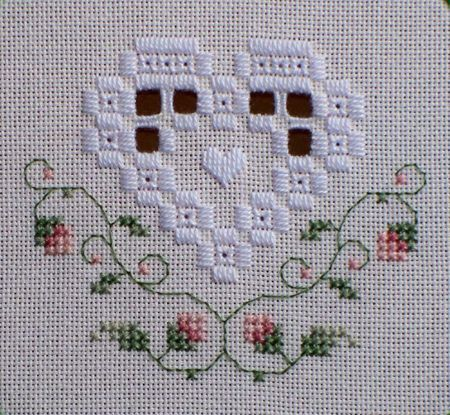 Hardanger Heart with cross-stitch