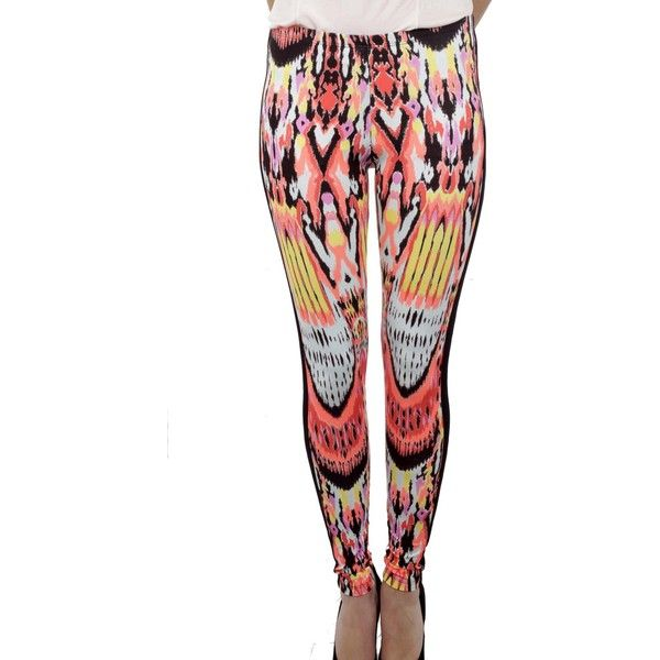 Jorando Tribal Print Leggings ($59) ❤ liked on Polyvore featuring pants, leggings, multicolor, tribal print pants, colorful leggings, white legging pants, tribal pants and tribal leggings