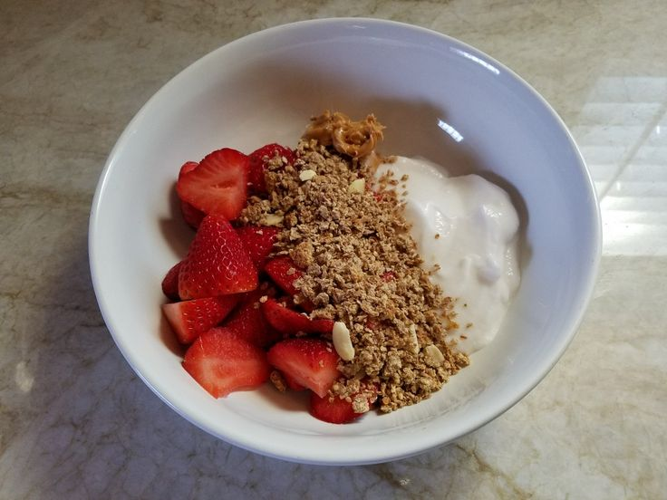 Tried this for breakfast!  6 oz Strawberries 4oz Unsweetened Coconut Milk Yogurt 1oz Ezeikiel Cereal 1oz Peanut Butter