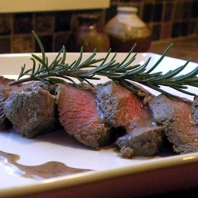 Recipe for venison backstrap. sides: kale sauteed with bacon and red wine vinegar.