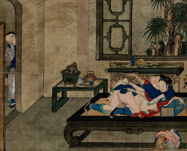 A couple making love in a well-appointed room, while a boy looks on from the next room.