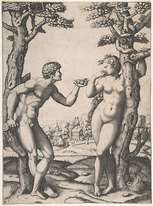 Marcantonio Raimondi; Adam and Eve, Italian engraving after Raphael, c. 1550-34; Metropolitan Museum of Art, New York