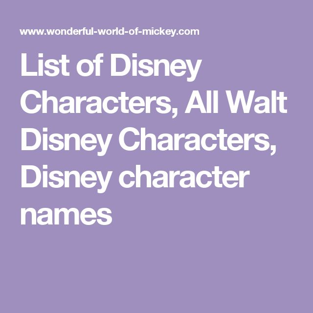 List Of Disney Characters Names  Lifestyle Lounge
