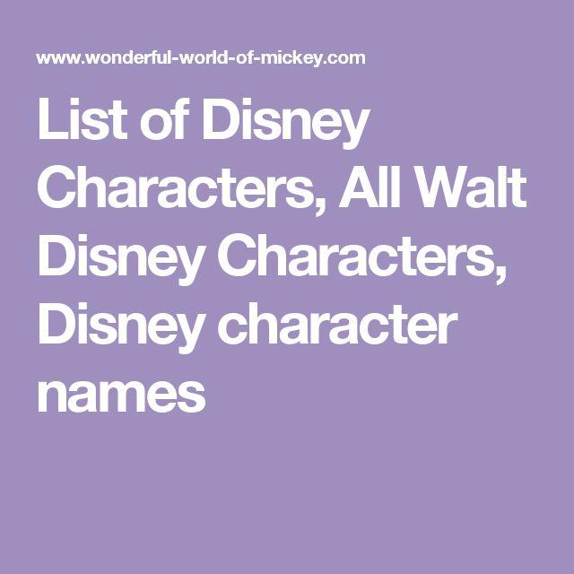 List of Disney Characters, All Walt Disney Characters, Disney character names
