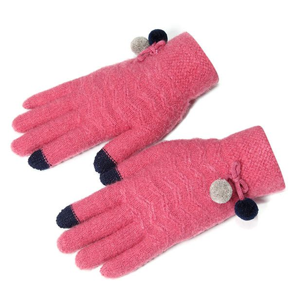 Women Plus Cashmere Full Fingers Gloves Outdoor Riding Thicken Warm Touch Screen Knitted Gloves at Banggood