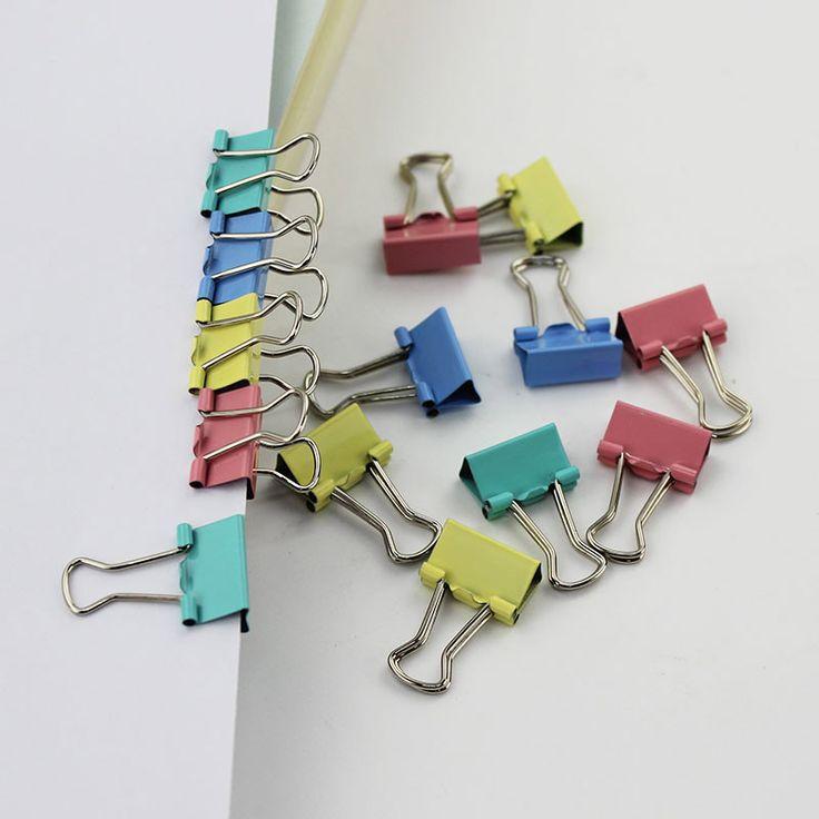 15ミリメートルランダム4色金属バインダークリップノート便箋書籍オフィス学校ファイル紙オーガナイザー1ピース