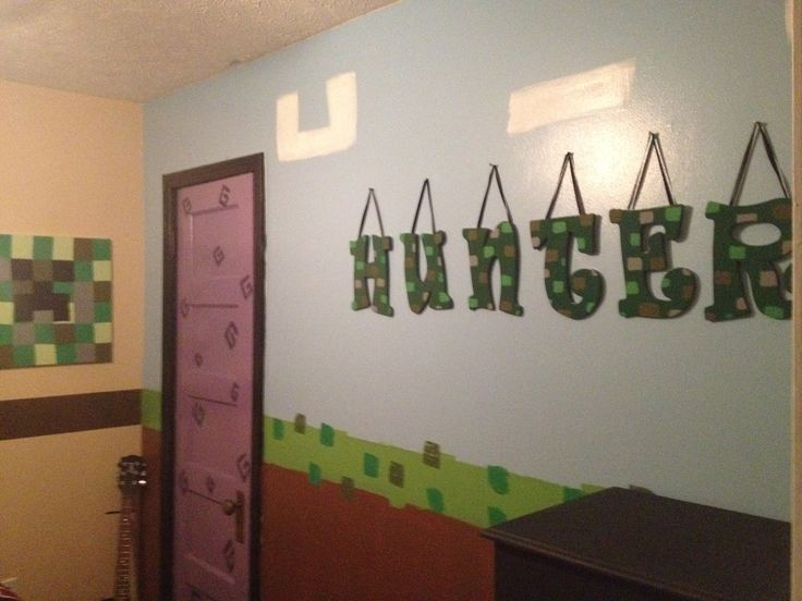 Minecraft bedroom, nether portal closet.  He loved it! :)