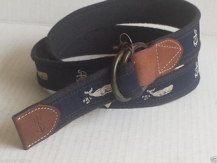 "#POLO Ralph Lauren casual canvas navy graphic belt size L (48"" long) NWT ($95) RalphLauren visit our ebay store at  http://stores.ebay.com/esquirestore"