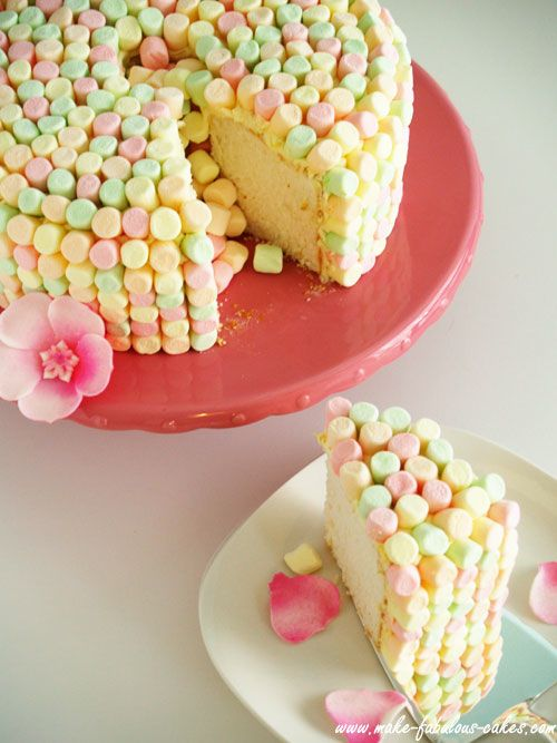 angel food cake w. flavored marshmallows.  Ethan's dream cake!