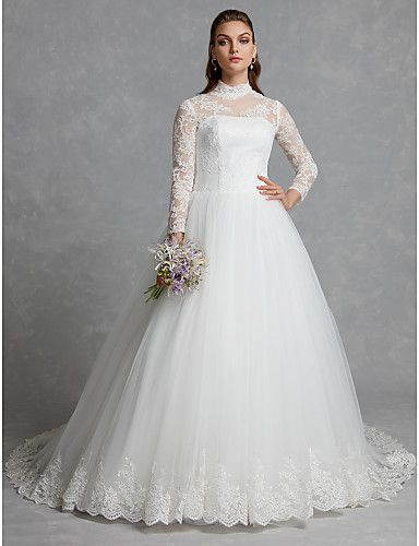 ce82be1929 A-Line / Ball Gown High Neck Chapel Train Lace / Tulle Made-To-Measure  Wedding Dresses with Appliques / Buttons / Lace by LAN TING BRIDE® /  Sparkle & Shine