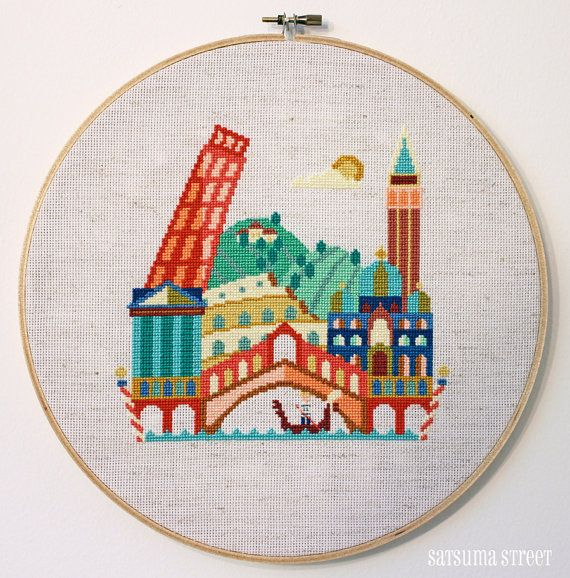 Pretty Little Italy - Modern Cross stitch pattern by SatsumaStreet on Etsy
